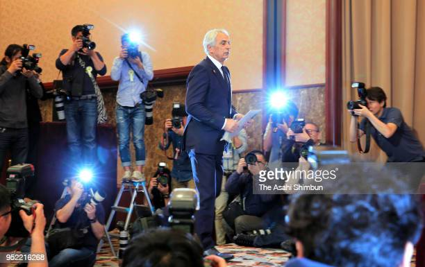 Former Japan National Team Head Coach Vahid Halilhodzic attends a press conference at the Japan National Press Club on April 27 2018 in Tokyo Japan