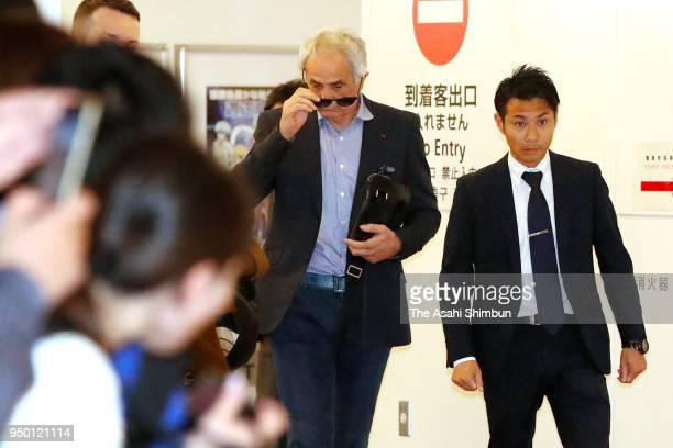 Former Japan national team head coach Vahid Halilhodzic is seen on arrival at Haneda Airport on April 21 2018 in Tokyo Japan