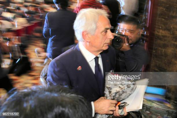 Former Japan National Team Head Coach Vahid Halilhodzic leaves after a press conference at the Japan National Press Club on April 27 2018 in Tokyo...