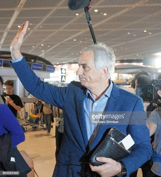 Former Japan national team head coach Vahid Halilhodzic waves to fans on departure at Narita International Airport on April 29 2018 in Narita Chiba...