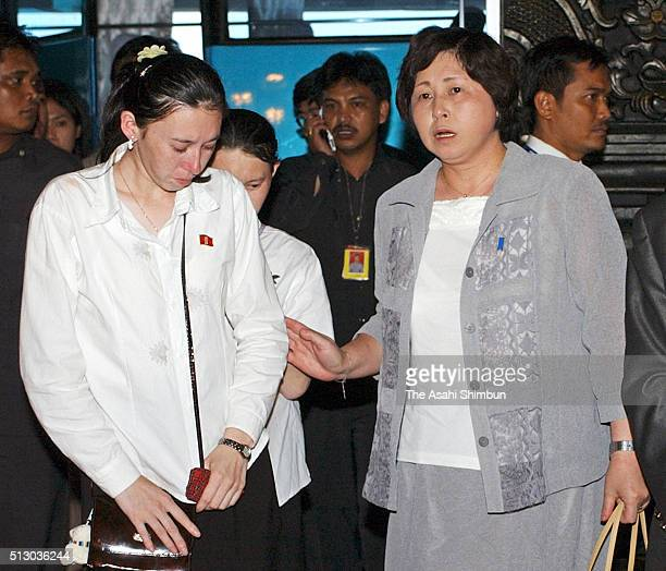 Former Japanese abductee Hitomi Soga welcomes her daughter Belinda and Mika upon arriving at the Jakarta International Airport July 9 2004 in Jakarta...