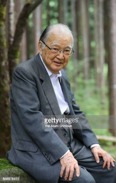Former Japanese Communist Party Chairman Tetsuzo Fuwa poses for photographs during the Asahi Shimbun interview on September 22 2017 in Sagamihara...