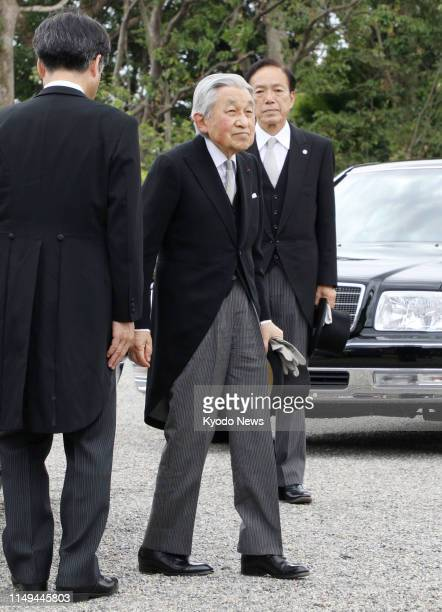 Former Japanese Emperor Akihito is pictured before visiting the mausoleum of Emperor Meiji in Kyoto on June 12, 2019. ==Kyodo