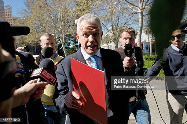 Former Japanese national team manager Javier Aguirre leaves the court at the City of Justice on March 27 2015 in Valencia Spain Javier Aguirre from...