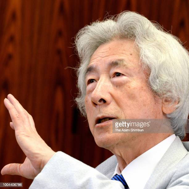 Former Japanese Prime Minister Junichiro Koizumi speaks during the Asahi Shimbun interview on June 27, 2018 in Tokyo, Japan.