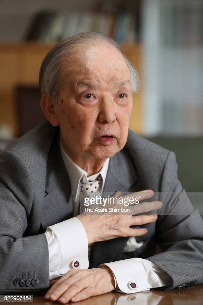 Former Japanese Prime Minister Toshiki Kaifu speaks during the Asahi Shimbun interview on July 12 2017 in Tokyo Japan