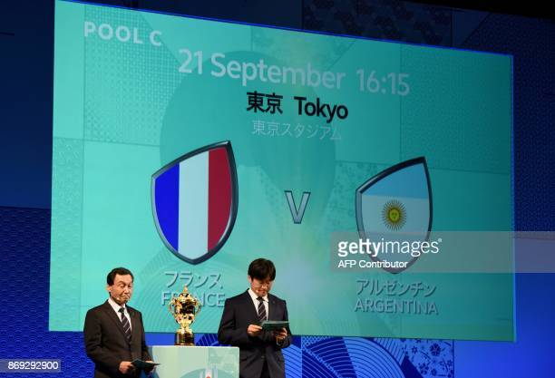 Former Japanese rugby national player Tsutomu Matsuda and former F1 driver Satoru Nakajima announce the match between France and Argentina during the...