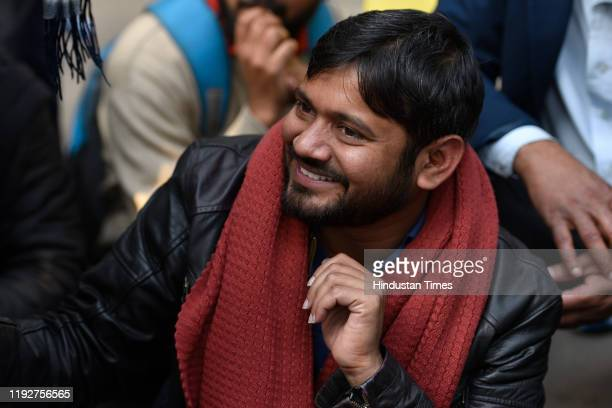 Former JNUSU president Kanhaiya Kumar addresses a protest march from Mandi House to HRD Ministry, demanding the removal of their vice-chancellor on...