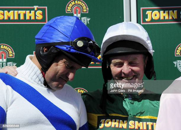 Former Jockeys Bob Champion and Jonjo O'Neill before the John Smith's Aintree Legends Charity Race during Grand National Day at Aintree Racecourse...
