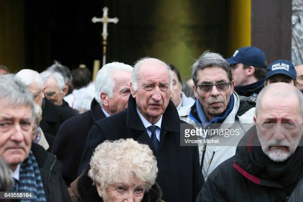 Former journalist Pierre Albaladejo during the Funeral of former football player Raymond Kopa at Saint Maurice Cathedral on March 8 2017 in Angers...