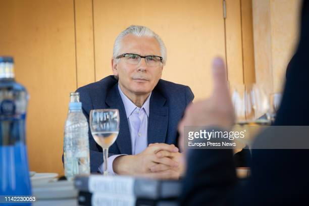 Former judge Baltasar Garzon promoter of the platform Actua meets human rights and social activists on April 12 2019 in Barcelona Spain