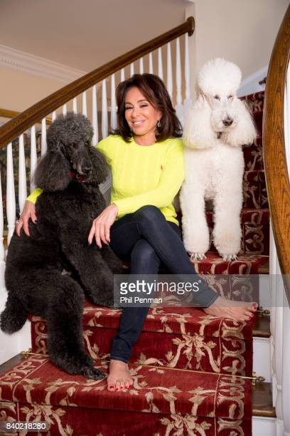 Former judge Jeanine Pirro is photographed with dogs Sir Lancelot and Mikimoto for Closer Weekly Magazine on March 29 2017 at home in Westchester...