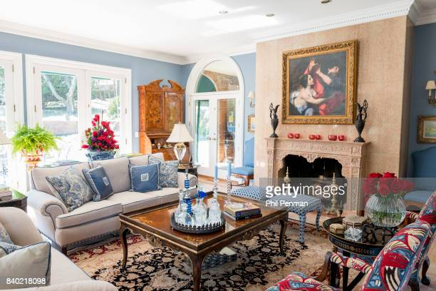 Former judge Jeanine Pirro's home is photographed for Closer Weekly Magazine on March 29 2017 in Westchester County New York The living room is use...