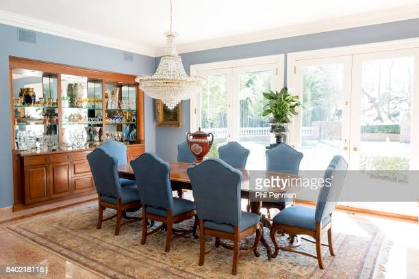 Former judge Jeanine Pirro's home is photographed for Closer Weekly Magazine on March 29 2017 in Westchester County New York The dining room table is...