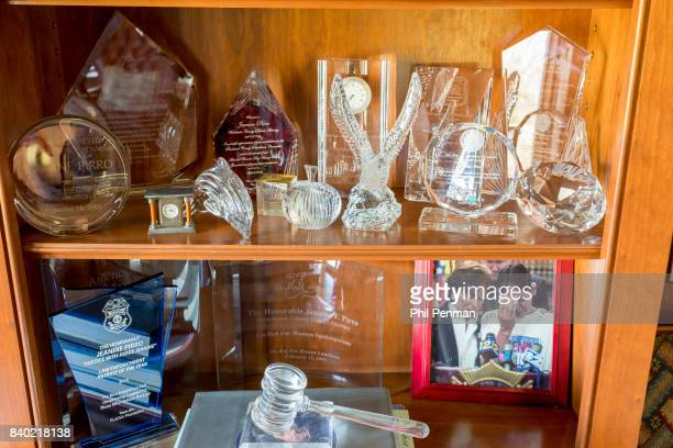 Former judge Jeanine Pirro's home is photographed for Closer Weekly Magazine on March 29 2017 in Westchester County New York Pirro's awards in the...