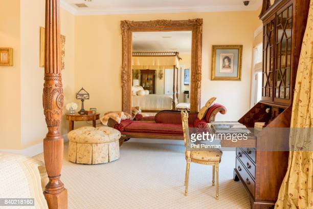 Former judge Jeanine Pirro's home is photographed for Closer Weekly Magazine on March 29 2017 in Westchester County New York Master bedroom PUBLISHED...