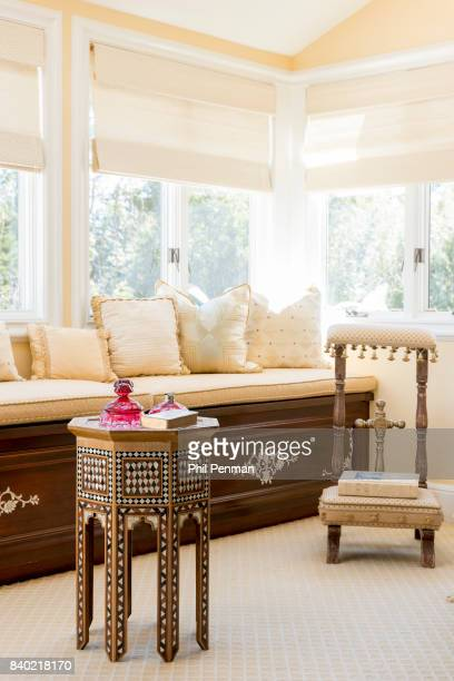 Former judge Jeanine Pirro's home is photographed for Closer Weekly Magazine on March 29 2017 in Westchester County New York Window seat in the...