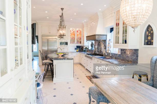 Former judge Jeanine Pirro's home is photographed for Closer Weekly Magazine on March 29 2017 in Westchester County New York The kitchen has room for...