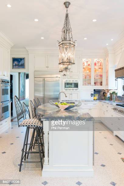 Former judge Jeanine Pirro's home is photographed for Closer Weekly Magazine on March 29 2017 in Westchester County New YorkThe kitchen has room for...