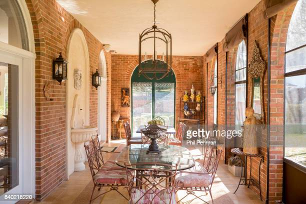 Former judge Jeanine Pirro's home is photographed for Closer Weekly Magazine on March 29 2017 in Westchester County New York Side porch with a...