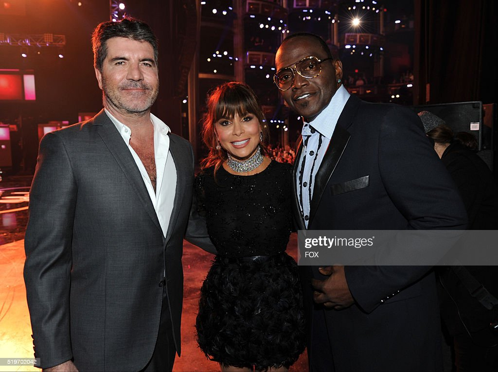 Former judges Simon Cowell, Paula Abdul and Randy Jackson backstage at FOX's American Idol Season 15 Finale on April 7, 2016 at the Dolby Theatre in Hollywood, California.