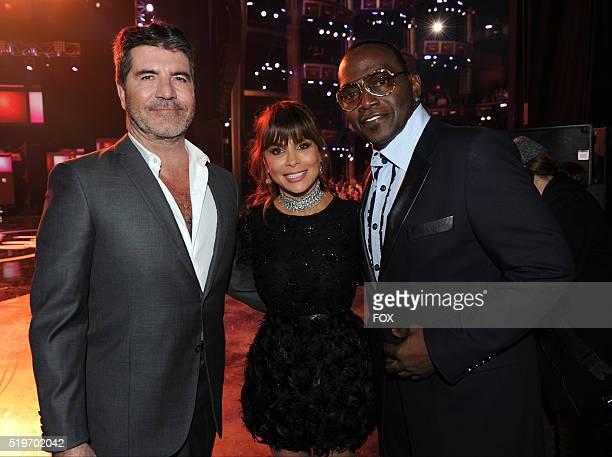 Former judges Simon Cowell Paula Abdul and Randy Jackson backstage at FOX's American Idol Season 15 Finale on April 7 2016 at the Dolby Theatre in...