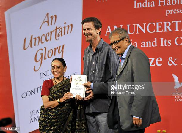 Former Justice Leila Seth with economist Jean Drèze and Nobel laureate Amartya Sen releasing their book An Uncertain Glory India and its...