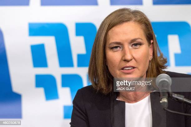 Former justice minister and HaTnuah party leader Tzipi Livni speaks during a joint press conference with Israeli Labour Party leader Isaac Herzog in...