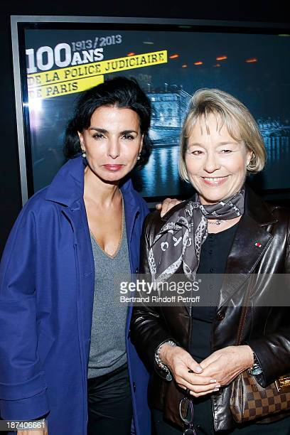Former Justice Minister Rachida Dati and former Paris Police chief Martine Monteil pose as they attend the 100th Anniversary Of The Paris Judiciary...