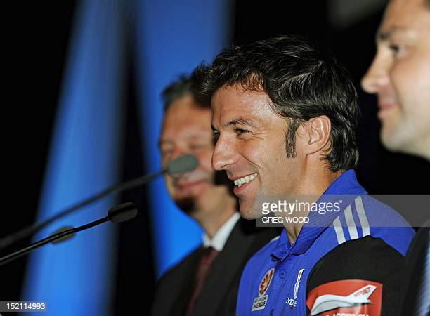 Former Juventus great Alessandro Del Piero with Sydney FC chief executive officer Tony Pignata and Sydney FC chairman Scott Barlow speaks at his...