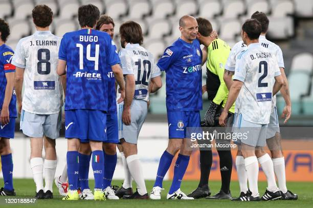 Former Juventus Head coach Massimiliano Allegri salutes Andrea Pirlo Head coach of Juventus and Marco Storari following the final whistle of the 30th...