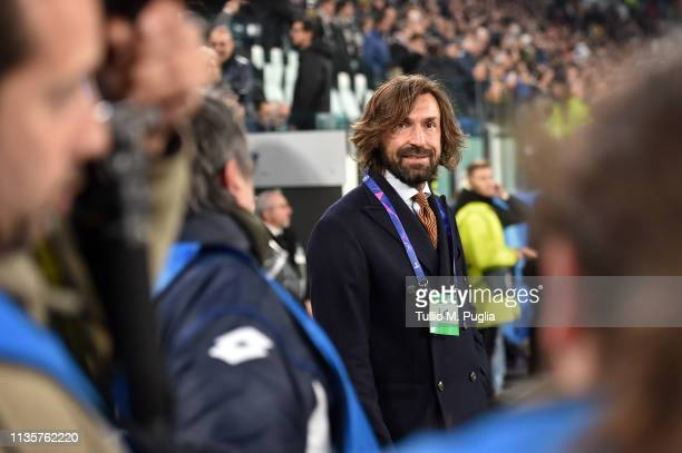 Former Juventus player Andrea Pirlo is seen before the UEFA Champions League Round of 16 Second Leg match between Juventus and Club de Atletico...