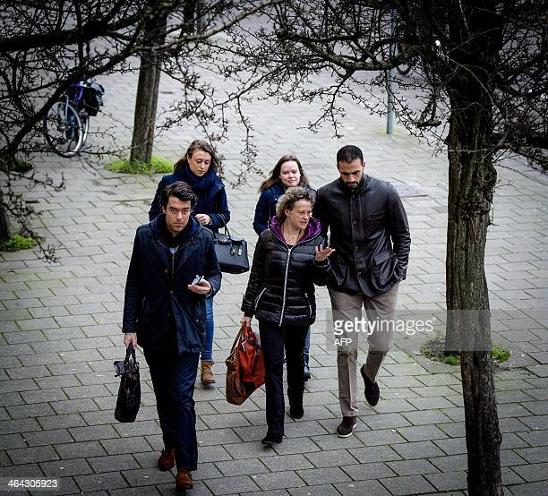 Former K1 heavyweight kickboxing champion Badr Hari arrives at the Amsterdam courtroom on 22 January 2014 Hari faces several criminal charges crimes...