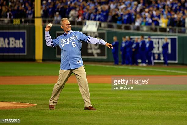 Former Kansas City Royals George Brett throws out the first pitch prior to Game Three of the American League Championship Series against the...