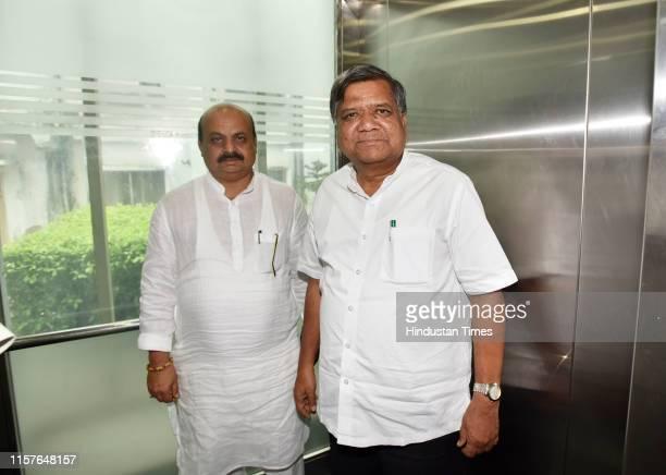 Former Karnataka chief minister senior Karnataka BJP leader Jagadish Shettar and Senior leader Basavaraj Bommai at Karnataka Bhavan on July 25, 2019...