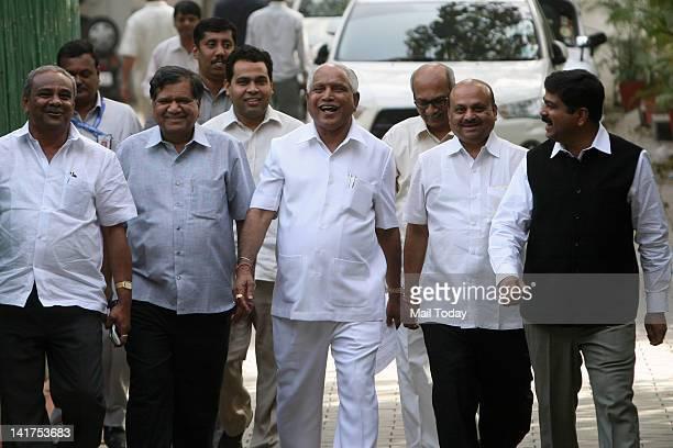 Former Karnataka CM BS Yeddyurappa comming out after meeting with Bharatiya Janata Party President Nitin Gadkari in New Delhi on Thursday
