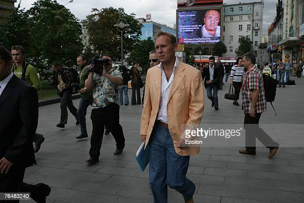 Former KGB agent turned business man Andrei Lugovoi is pictured before holding a news conference with Dmitry Kovtun to discuss murdered Russian...