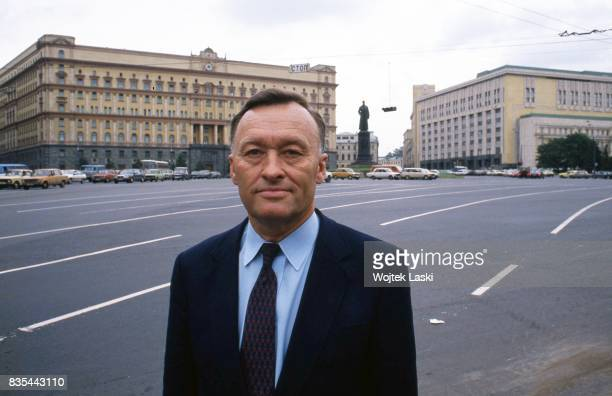 Former KGB general Oleg Kalugin in front of the Lubyanka, headquarters of the KGB. Lubyanka Square, Moscow, USSR, on July 24th, 1990.