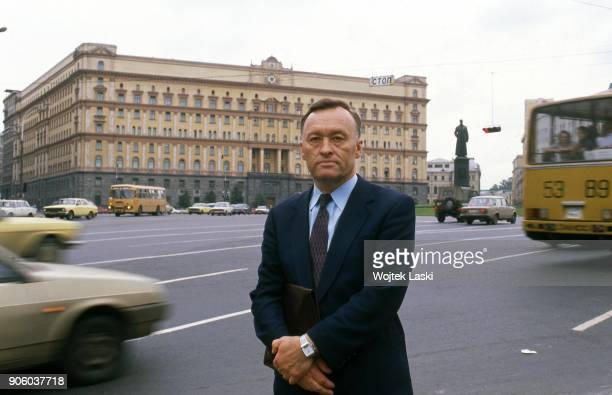 Former KGB general Oleg Kalugin in front of the Lubyanka, headquarters of the KGB. Lubyanka Square, Moscow, Russia, on July 24th, 1990.