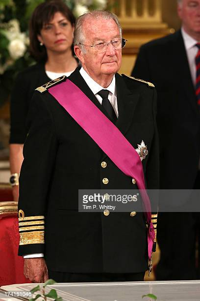 Former King Albert II of Belgium seen during the Abdication Of King Albert II Of Belgium Inauguration Of King Philippe on July 21 2013 in Brussels...