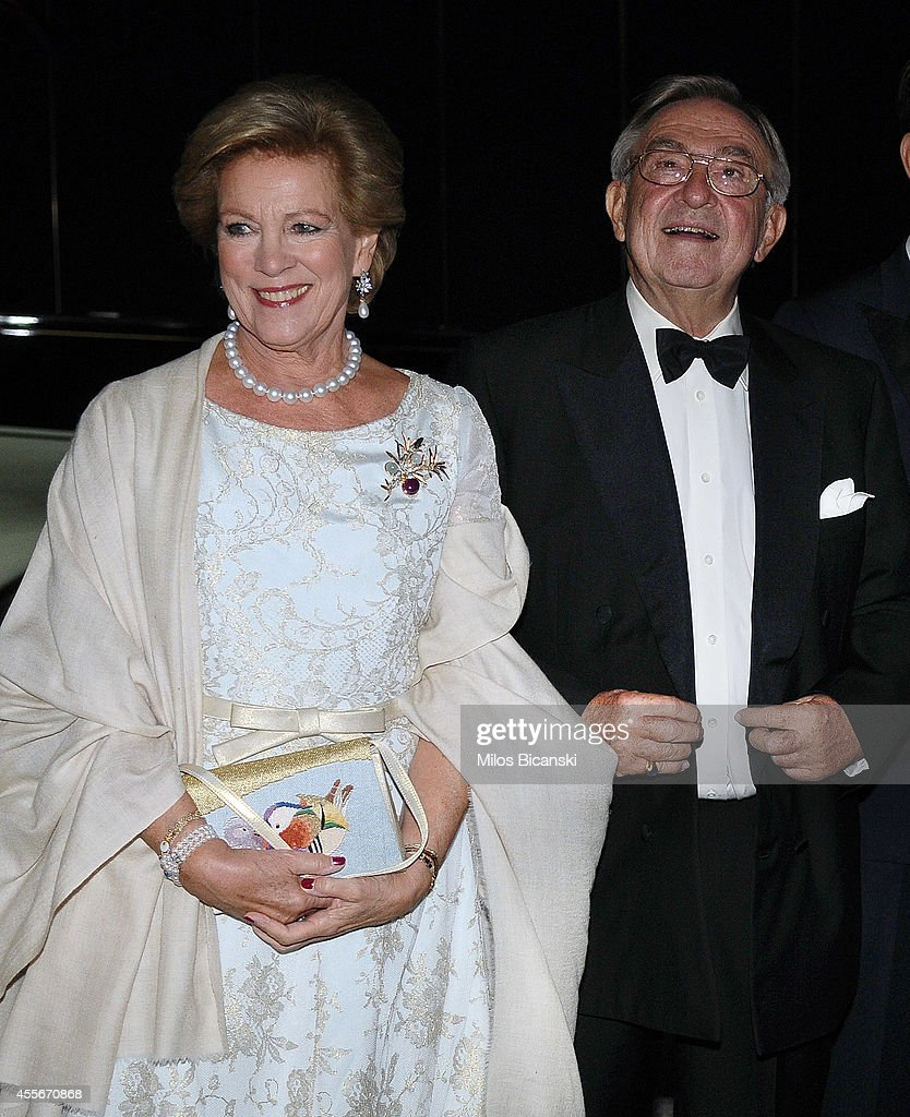 Former King Constantine II of Greece (L) and former Queen Anne-Marie of Greece, arrive for a private dinner organized by former King Constantine II of Greece and former Queen Anne-Marie to celebrate their Golden wedding anniversary at the Yacht Club of Greece in Piraeus, Greece, 18 September 2014.