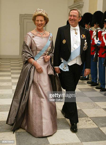 Former King Constantine II of Greece and his wife Queen Anne-Marie, sister of Danish Queen Margrethe II, attend a celebratory dinner at...