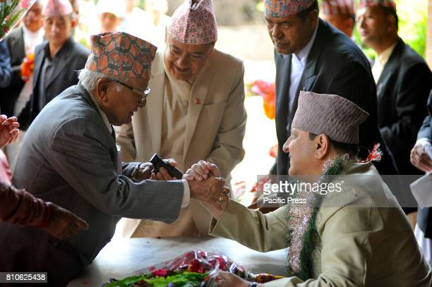 Former King Gyanendra Shah receives greetings and gifts from his supporters and well-wishers on his 71st birthday at his residence Nirmal Niwas,...