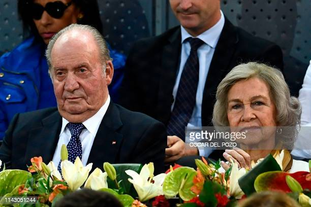 Former king Juan Carlos and Queen Sofia of Spain attend an ATP Madrid Open semi-final tennis match at the Caja Magica in Madrid on May 11, 2019.