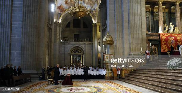 Former king Juan Carlos attends a memorial mass marking the 25th anniversary of the death of his father Juan de Bourbon Count of Barcelona with...