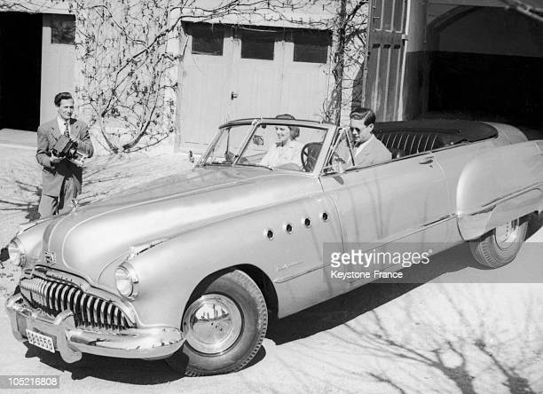 Former King Michael Of Romania With His Wife Princess Anne De BourbonParme In Their Buick Automobile At Their Petites Grangettes Residence In...