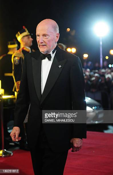 Former King of Bulgaria Simeon Saxe Coburg arrives at The National Opera to attends the celebration concert of King Michael I of Romania for his 90's...