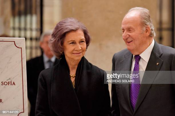 Former king of Spain Juan Carlos I and former Queen Sofia attend the inauguration of the new enlightenment of papal basilica St Mary Major on January...