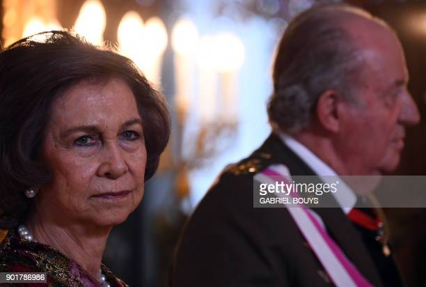 Former king of Spain Juan Carlos I and his wife Sofia attend the Epiphany Day celebrations at the Royal Palace in Madrid, on January 6, 2018. Spain's...