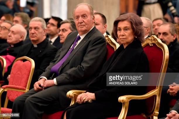 Former king of Spain Juan Carlos I and his wife Sofia attend the inauguration of the new enlightenment of papal basilica St Mary Major on January 19...